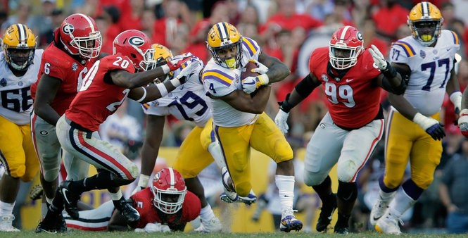 LSU Tigers running back Nick Brossette (4) runs the ball during second half action against the Georgia Bulldogs in Baton Rouge on Saturday, October 13, 2018. (Photo by Brett Duke, NOLA.com | The Times-Picayune) NOLA.com | The Times-Picayune