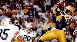 Eddie Fuller grabs the winning touchdown pass in the back of the end zone to beat Auburn in the Earthquake Game in 1988.