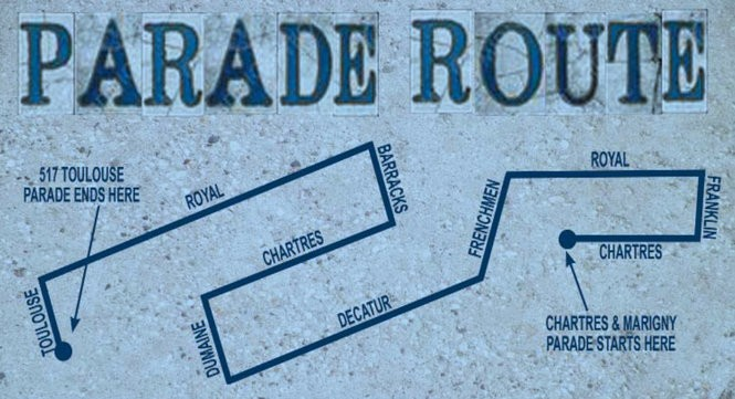 The 2018 Krewe du Vieux parade takes place January 27 at 6:30 p.m. (Map from the Krewe du Vieux's 'Le Monde de Merde' online newspaper)