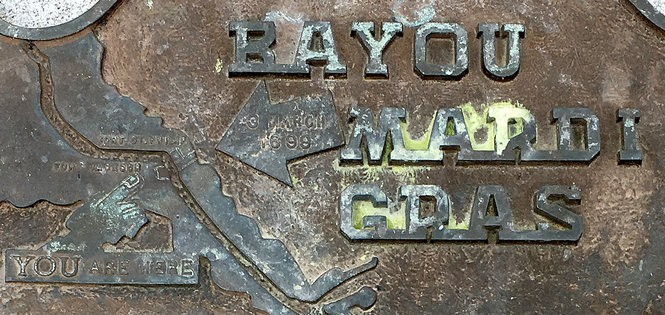 The plaque at Fort Jackson pointing to Bayou Mardi Gras across the river, was the inspiration for our adventure (Photo by Doug MacCash, NOLA.com | The Times-Picayune)
