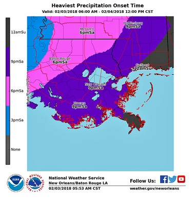 This map shows when forecasters with the Slidell office of the National Weather Service believe the heaviest rainfall will arrive on Saturday evening (Feb. 3): by 6 p.m. in Baton Rouge and by 9 p.m. in New Orleans and the North Shore.