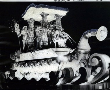 """Cleopatra's barge, carrying Vicki O'Brien of Marrero as Queen of the Nile, led the Krewe of Cleopatra through Gretna in 1976 with 22 floats bearing the theme, """"Feasts, Festivals and Celebrations in America."""""""