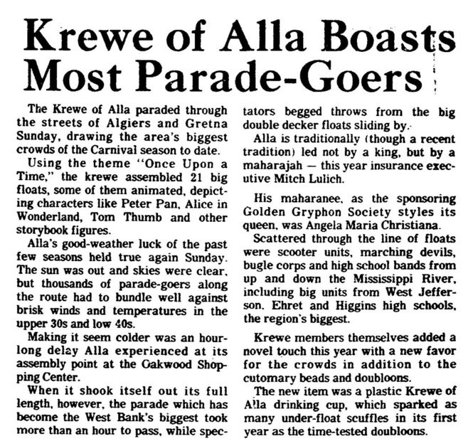 A story from Feb. 11, 1980, on the Alla parade.