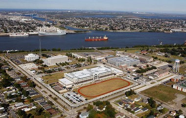 The Marine Corps Support Facility New Orleans in Algiers, center in this Nov. 3, 2011 aerial photograph, is home to Marine Forces Reserve and Marine Forces North national headquarters.