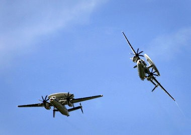 E-2C Hawkeyes fly over the Naval Air Station-Joint Reserve Base in Belle Chasse in 2008.