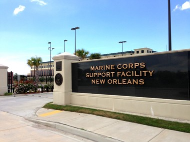 The main entrance to the Marine Corps Support Facility New Orleans, is at 2000 Opelousas Ave., in Algiers.