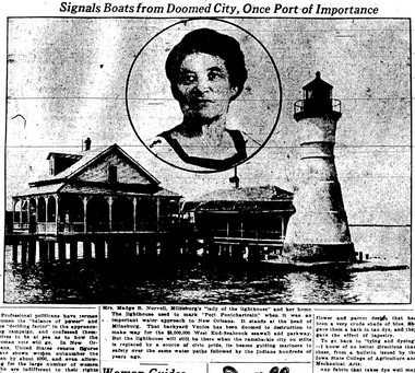 """The lighthouse keeper Margaret """"Madge"""" Norvell is pictured with the Port Pontchartrain lighthouse in this 1923 photo published in The Times-Picayune. She was keeper at the site from 1896 until it closed in 1924. The lighthouse was a fixture at Pontchartrain Beach amusement park and stands still at the University of New Orleans campus. The Coast Guard has named a cutter after Norvell."""