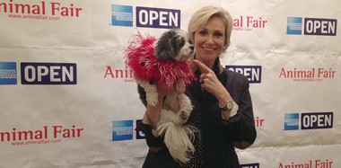 Actress Jane Lynch is just one of the celebrities bring attention to K9 For Warriors, so that more dogs can be provided to veterans with PTSD and brain injuries. (Photos from Animal Fair)