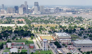 The Marine Corps Support Facility New Orleans and Federal City are pictured in the foreground, with New Orleans' Central Business District and the Mississippi River in the background. (Ted Jackson, Nola.com | The Times-Picayune)