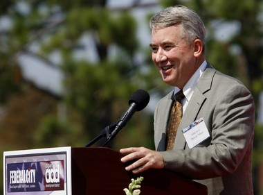 Retired Marine Corps Maj. Gen. David Mize, largely credited with speaheading Federal City's early successes, smiles as he addresses an audience, during the Sept. 30, 2008, groundbreaking for the Marine Corps Support Facility New Orleans, viewed as the anchor for the Federal City in Algiers. Mize is no longer involved with the project. (Rusty Costanza, NOLA.com | The Times-Picayune)