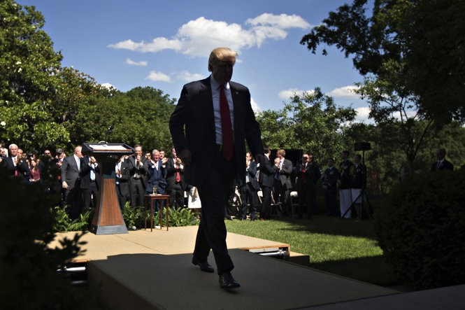 President Donald Trump announced June 1 in the Rose Garden of the White House in Washington that the United States would withdraw from the Paris climate accord. (Photo by Andrew Harrer, Bloomberg News)
