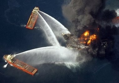 Fireboats try to extinguish the blaze on the Deepwater Horizon oil rig south of Venice on April 21, 2010, a day after an explosion left 11 workers dead.