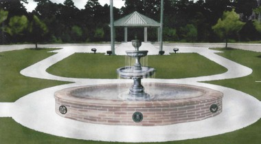 A rendering of the fountain that will be constructed at the Southeast Louisiana Veterans Cemetery.