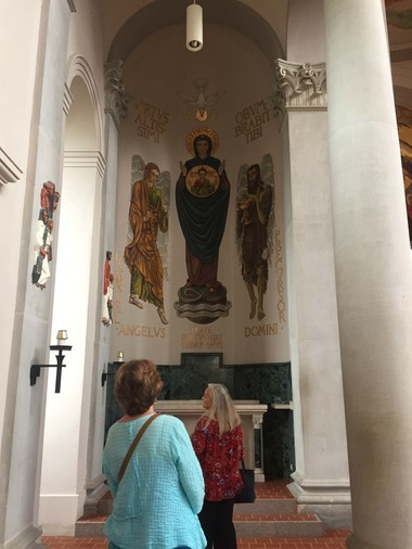 Guests at an Abbey Artworks open house view the murals created by Dom Gregory De Wit in the church at St. Joseph Abbey. A documentary about De Wit will be screened at the St. Tammany Art Associaiton Oct. 24 at 7 p.m.