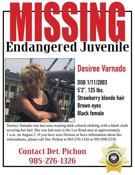 A St. Tammany Parish Sheriff's Office flier about the disappearance of Desiree Varnado, 15, who was last seen Aug. 2, 2018.