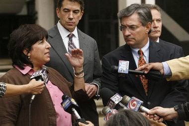 Jan Mann, left, and Sal Perricone, right, are shown in a photo from Aug. 21, 2009.