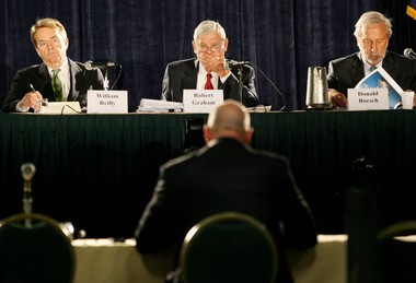 Members of the National Commission on the BP Deepwater Horizon Spill and Offshore Drilling listen to testimony at the Hilton New Orleans Riverside hotel on Monday, July 12, 2010. Shown from left are commission co-chairs William K. Reilly and Senator Bob Graham, and Donald Boesch, who was then president of the University of Maryland Center for Environmental Science. He now teaches at the center.