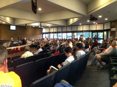 St. Bernard Parish residents filled the council chambers Monday night to voice their opposition to the state's plan to install large-scale sediment diversions along the coast.