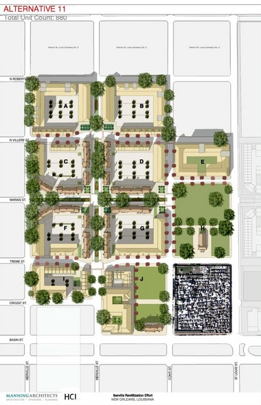 City officials presented design plans for the redevelopment of the Iberville housing complex at a Feb. 19 public meeting. The rendering above as designed by Manning Architects is the city's preferred version.