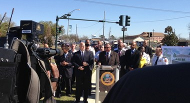 Mayor Mitch Landrieu breaks ground on a collection of new city projects in the Lower 9th Ward on Wednesday, March 6.