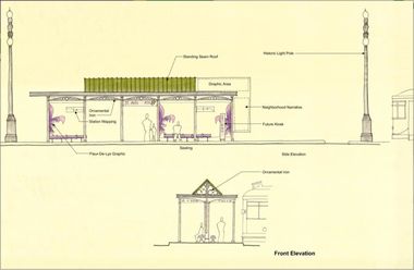An early rendering of proposed shelters on the streetcar line planned along North Rampart Street and St. Claude Avenue.