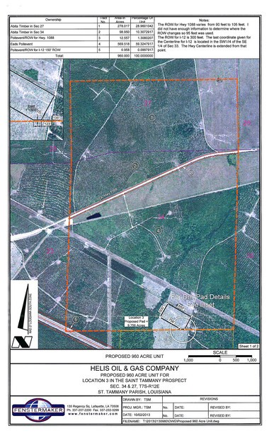 The area within the box is a 960-acre drilling and production unit proposed near Mandeville by Helis Oil & Gas Co. of New Orleans. The well would be drilled at the bottom of the box.