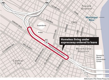Map shows location where homeless have been ordered to leave