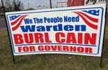 Signs encouraging Angola warden Burl Cain to run for governor are springing up across the state. (Courtesy photo)