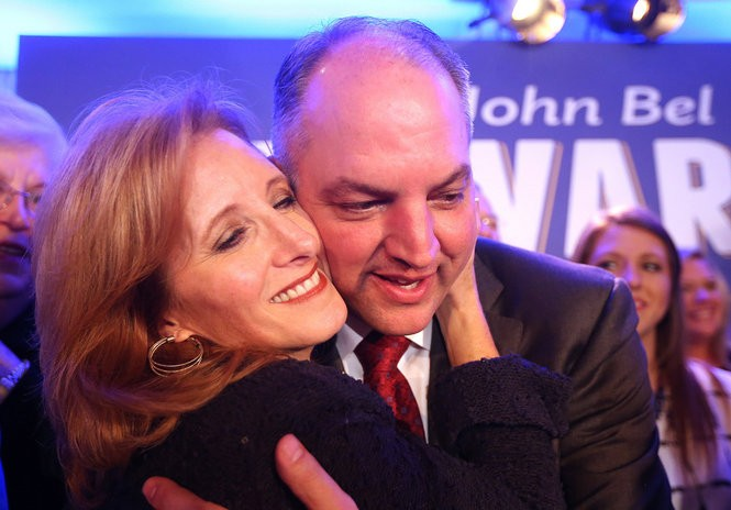 Governor-elect John Bel Edwards hugs his wife Donna as he thanks supporters during his election night party at the Monteleone Hotel in the French Quarter on Saturday, November 21, 2015. (Photo by Michael DeMocker, NOLA.com | The Times-Picayune)