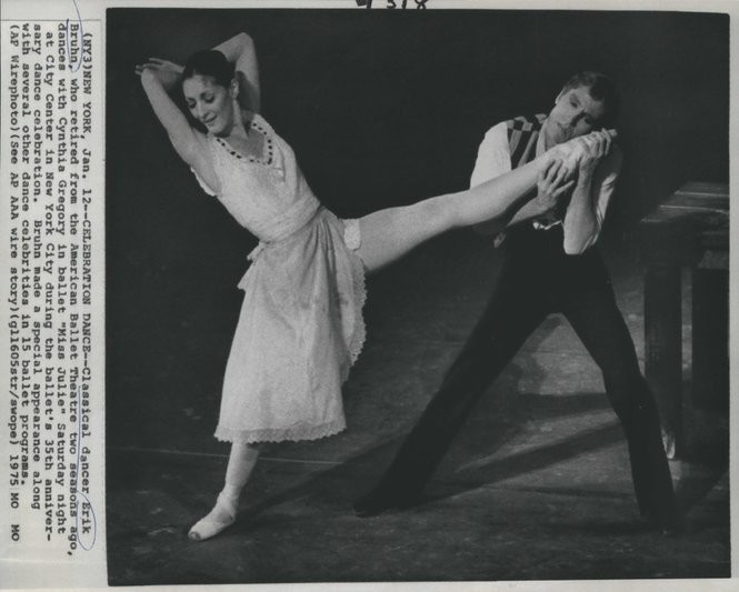 "A 1975 press photo of Erik Bruhn and Cynthia Gregory in the ballet ""Miss Julie."" Perhaps not a paid ""taxi dancer,"" but certainly enjoying the tete-a-tete."
