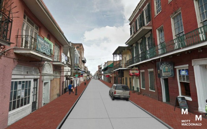 An overhaul of Bourbon Street infrastructure includes the concrete surface shown in this rendering.