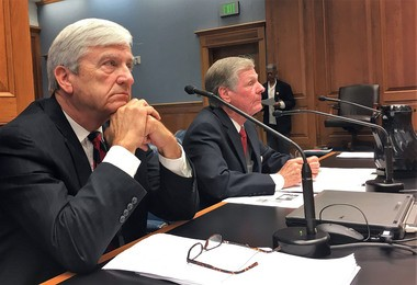 Sens. Gerald Long, R-Winnfield, left, and Francis Thompson, D-Delhi, testified in the House Education Committee on Thompson's bill to rename the Louisiana School for Math, Science and the Arts. (Photo by Katie Gagliano, Manship School News Service)