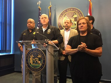 New Orleans Mayor Mitch Landrieu, flanked by NOPD Superintendent Michael Harrison, left, and NOFD Superindent Tim McConnell, briefs the public Sunday (Aug. 13) on the latest status of the city's hobbled drainage system.