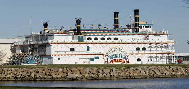 The Treasure Chest casino, photographed in 2010, has been docked since it opened in 1994 in Lake Pontchartrain at Kenner. Now the Legislature has passed a law letting Louisiana's floating casinos move onto land. (Photo by Rusty Costanza, The Times-Picayune archive)