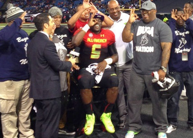 Leonard Fournette with family at the Under Armour Game after declaring to LSU.
