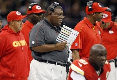 Romeo Crennel, according to an NFL.com, is one of the top two candidates for the Saints' defensive coordinator position. He was fired this past season as coach of the Kansas City Chiefs.