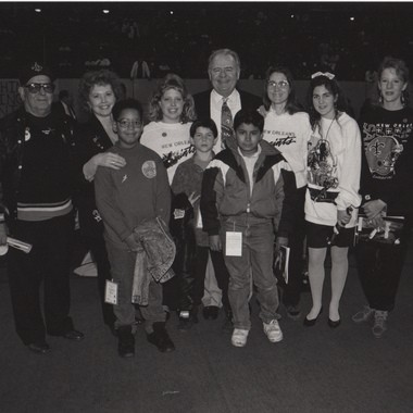 Tom Benson (rear, middle) with second wife Grace (second from left), granddaughter Dawn (fourth from left), grandson Ryan (fifth from left), daughter Renee (third from right) and granddaughter Rita (second from right).