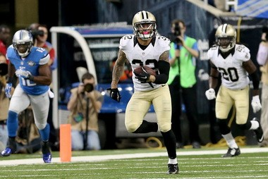 New Orleans Saints strong safety Kenny Vaccaro (32) returns his fourth quarter interception during the game between the New Orleans Saints and Detroit Lions at Ford Field in Detroit, Michigan on Sunday, October 19, 2014. (Michael DeMocker, Nola.com / The Times-Picayune)