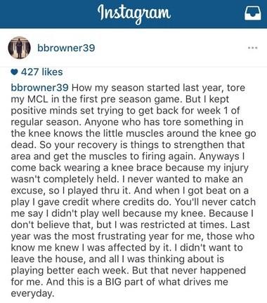 Former Saints cornerback Brandon Browner said he played through a torn MCL last season