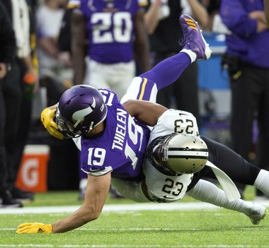 New Orleans Saints cornerback Marshon Lattimore (23) and Minnesota Vikings wide receiver Adam Thielen (19) will be one of the key matchups in Sunday's NFC divisional playoff game at U.S. Bank Stadium in Minneapolis.
