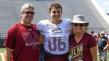 Doug Pederson, with son, Josh, a tight end at Louisiana-Monroe, and wife, Jeannie, at ULM's Malone Stadium.