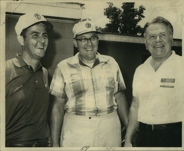 Bill Curl, center, with LSU athletic director Carl Maddox, right, and Nicholls State basketball coach Don Landry at a charity golf tournament in 1970.