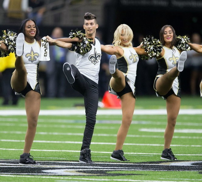 Jesse Hernandez, the first male Saintsation, performs as the New Orleans Saints host the Arizona Cardinals in a preseason game at the Mercedes-Benz Superdome in New Orleans, La. Friday, Aug. 17, 2018. (Photo by David Grunfeld, NOLA.com | The Times-Picayune)