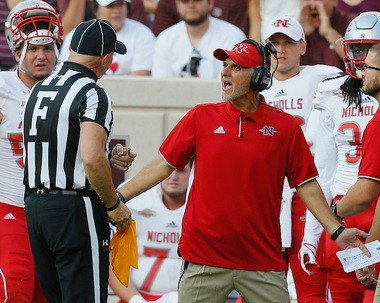 Nicholls coach Tim Rebowe argues with the field judge after he was flagged for unsportsman like conduct at Kyle Field on September 9, 2017 in College Station, Texas. (Photo by Bob Levey/Getty Images)
