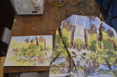 Kaplan created uses her sketches of the nearby marshes and other landscapes to create fabrics, which she sews into dresses and other textiles.