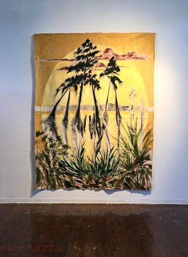 "A large-scale, tapestry-like painting entitled ""The Dance of Trees"" is a highlight of Kaplan's latest exhibition at the Isaac Delgado Fine Arts Gallery in New Orleans. The show runs through Sept. 22. (Sarah Bonnette photo)"