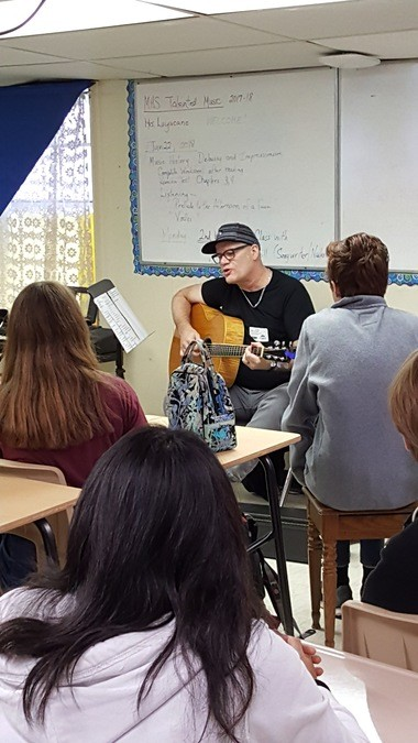 Songwriter Grew Barnhill met with local music students on January 22 at Mandeville High school. (photo provided by Ozone 3 Songwriter Festival)