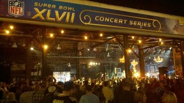 The scene at the Sugar Mill during the Super Bowl 2013 Journey / Rascal Flatts performance on Saturday, Feb. 2.