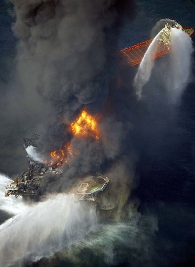 Fireboats try to extinguish the blaze on the Deepwater Horizon oil rig south of Venice on Wednesday, April 21, 2010 after an explosion left 11 dead.