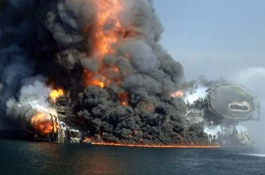 The Deepwater Horizon oil rig burns and collapses into the Gulf of Mexico, Thursday April 22, 2010.